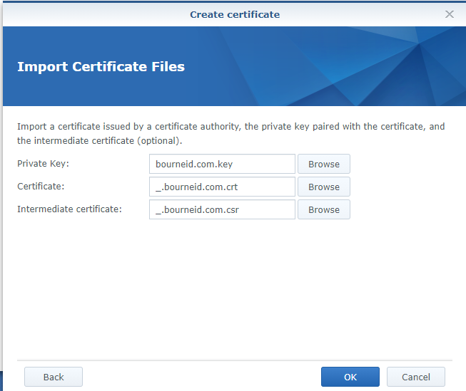Synology NAS Import Certificate Files